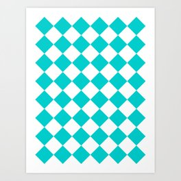 Large Diamonds - White and Cyan Art Print