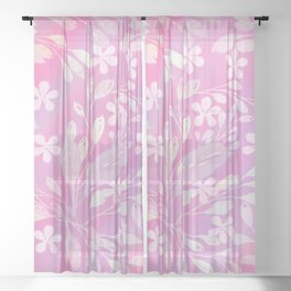 Hand painted pink white watercolor brushstrokes floral Sheer Curtain