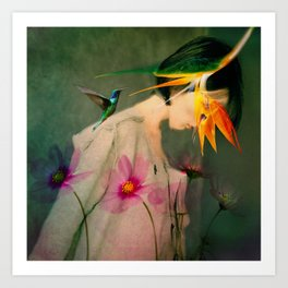 Woman between flowers / La mujer entre las flores Art Print