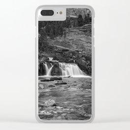 Redrock Falls bw - Glacier National Park Clear iPhone Case
