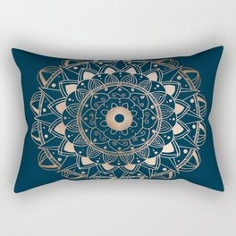 Delicate rose mandala on dark blue Rectangular Pillow