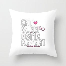 Eat Sleep ASMR Repeat Brain Tingles Throw Pillow