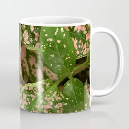 Pink Sprinkled Lush Green Leaves Coffee Mug