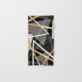 Original Gray and Gold Abstract Geometric Hand & Bath Towel