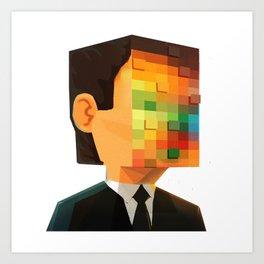 Pixel head Art Print