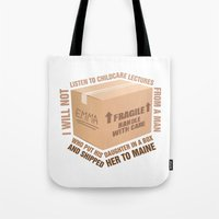 regina mills Tote Bags featuring Regina Sassy Mills | Childcare Lectures by CLM Design