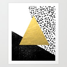 Rexa - gold abstract minimal tribal glitter triangle geometric art cell phone case brooklyn austin  Art Print