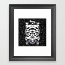 TIBETAN TIGER - WHITE (black) Framed Art Print