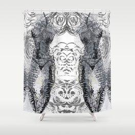 blk&whitebodys&roses Shower Curtain