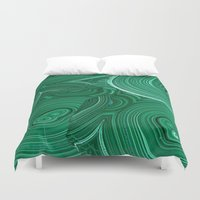 malachite Duvet Covers featuring Green Malachite Nature Pattern Design Abstract by SharlesArt