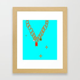 Jewels, gems of ruby, pearl and emerald Framed Art Print