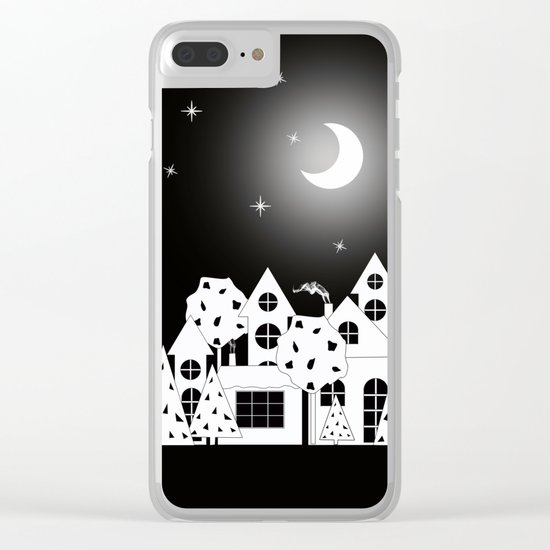 Fabulous houses, trees against the night sky. Clear iPhone Case
