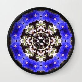 Blue and white floral mandala - Evolvulus and Diamond frost flowers 1 Wall Clock