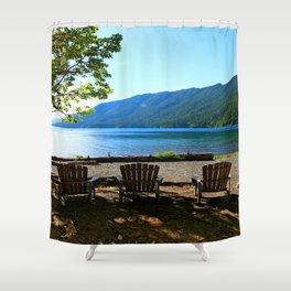 Adirondack Chairs at Lake Cresent Shower Curtain