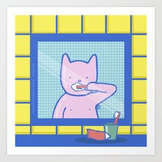 Fox Brushes His Teeth Art Print