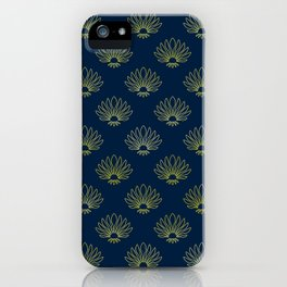 Classic Art Deco Gold Pattern on Dark Teal iPhone Case