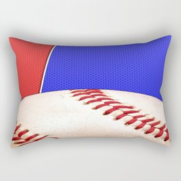 Baseball Sports on Blue and Red Rectangular Pillow