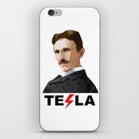 tesla iPhone & iPod Skins featuring Tesla by Vi Sion