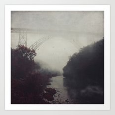 Bridge and River in Fog Art Print