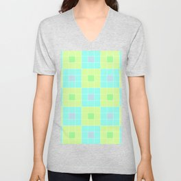 square pattern Unisex V-Neck