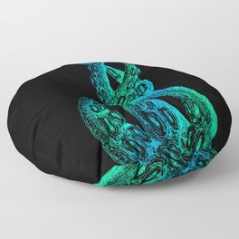Woodcut Style Cthulu Octopus Tentacles Blue Trio Floor Pillow