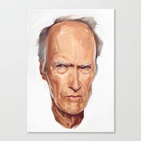 clint eastwood Canvas Prints featuring Clint Eastwood by Viktor Miller Gausa