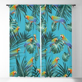 Parrots in the Tropical Jungle #2 #tropical #decor #art #society6 Blackout Curtain