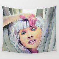 chandelier Wall Tapestries featuring Chandelier Girl by Alina Rubanenko
