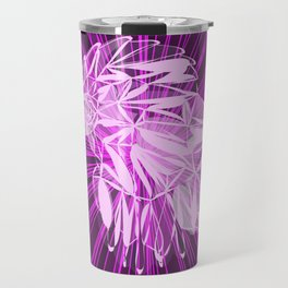 Glowing pink bird in purple chaotic lines. Travel Mug