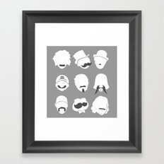 Famous Moustaches grey Framed Art Print
