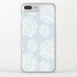 Sleepy Blue Zinnias Clear iPhone Case