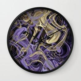 Gold & Ultra Violet Liquid Marble Love Wall Clock