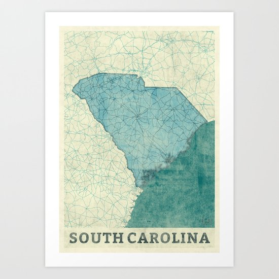 South Carolina State Map Blue Vintage Art Print