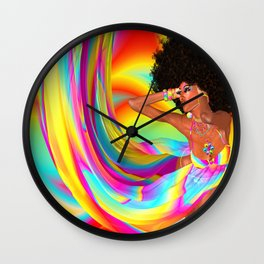 Sexy woman with afro haircut is dancing disco. Wall Clock