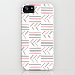Linear Trouble // Basket Weave design in pastel colours, pink, white, grey, olive iPhone Case