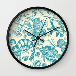 Ocean Sea Critters on White Background Wall Clock