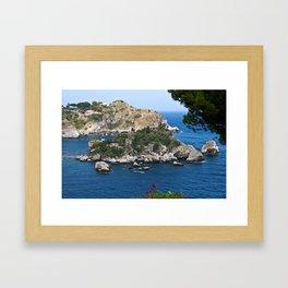 Isola Bella on the bay of Taormina Framed Art Print