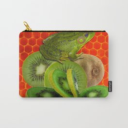 GREEN FROG & KIWI FRUIT PATTERNED RED ART Carry-All Pouch