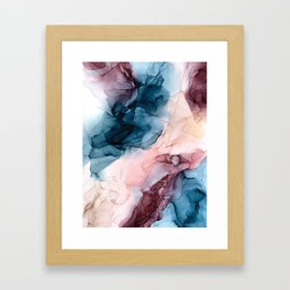 Pastel Plum, Deep Blue, Blush and Gold Abstract Painting Framed Art Print