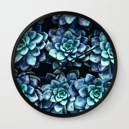 Blue And Green Succulent Plants Wall Clock