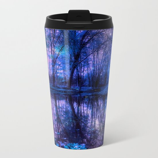 Enchanted Forest Lake Purple Blue Metal Travel Mug