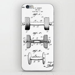 Weight Lifting Patent - Dumb Bell Art - Black And White iPhone Skin