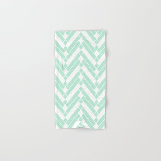 Chevron Herringbone ZigZag pattern - light mint green #Society6 Hand & Bath Towel