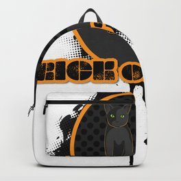 Halloween Trick or treat spooky black green-eyed cat on a dark autumn night Backpack