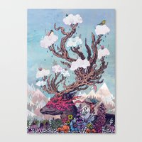 spirit Canvas Prints featuring Journeying Spirit (deer) by Mat Miller