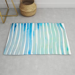 New Year Blue Water Lines Rug