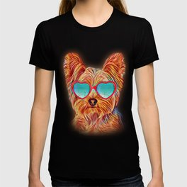 Yorkshire Terrier Colorful Yorkie Neon Dog Sunglasses T-shirt