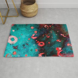 Red Turquoise Textured Abstract Rug