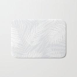 White Lino-Print Palm Leaves on a Pale Gray Background Bath Mat