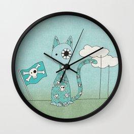 Sweet Blue Pirate Cat Wall Clock